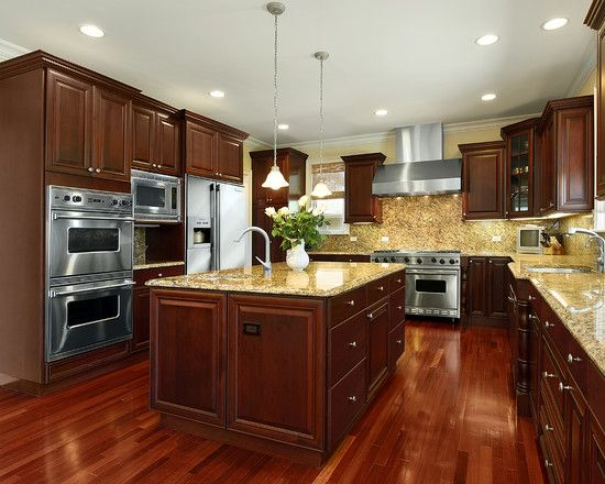 Kitchens With Cherry Wood Cabinets Design, Pictures