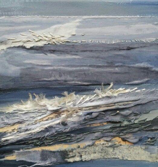 Stormy Rocks -Laura Edgar #textile art # collage www.lauraedgar.co.uk