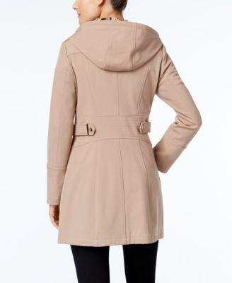 Via Spiga Water-Repellent Hooded Raincoat - Tan/Beige XXL