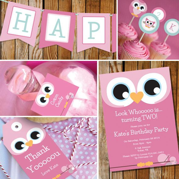 Owl Girl Birthday Party - Pinks & Teal - Instantly Downloadable and Editable File - Personalize at home with Adobe Reader