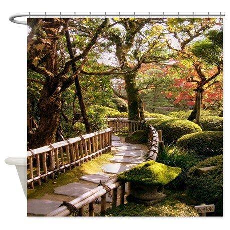 buddhist garden shower curtain