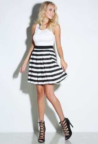 Criss Cross Back Striped Dress | Shop Day Dresses at Papaya Clothing