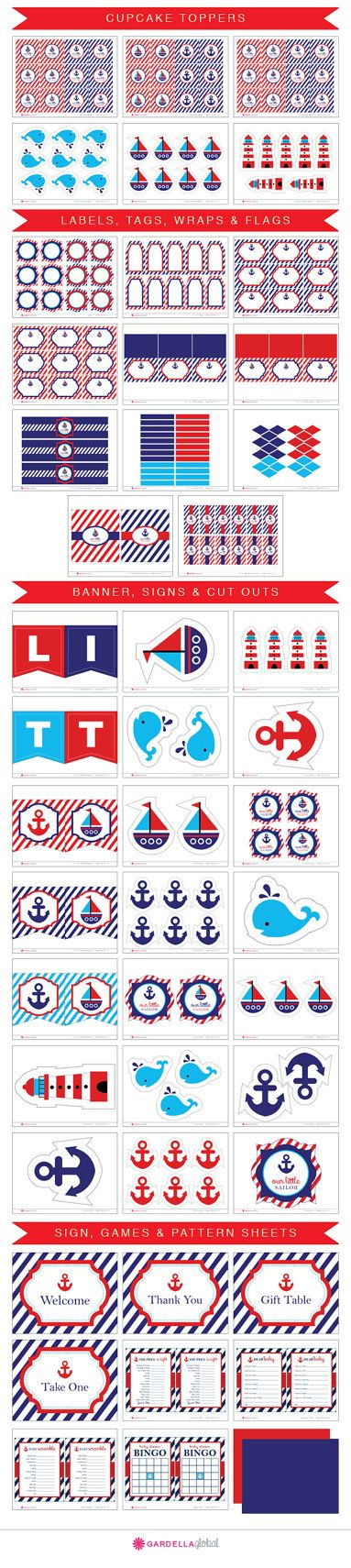 Nautical Baby Shower Party Set, Ocean, Sail Boat, Anchor Theme, Navy and Red, Invitation, Thank you Card, Cupcake toppers, banner, Labels, Wraps, Centerpieces, and much More!
