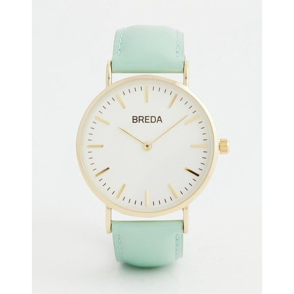 Breda Classic Minimalist Mint Watch ($88) ❤ liked on Polyvore featuring jewelry, watches, mint, bezel jewelry, slim watches, bezel watches, mint watches and mint jewelry