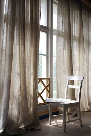 Floor To Ceiling Grey Linen Sheer Curtains... UM YES PLEASE!