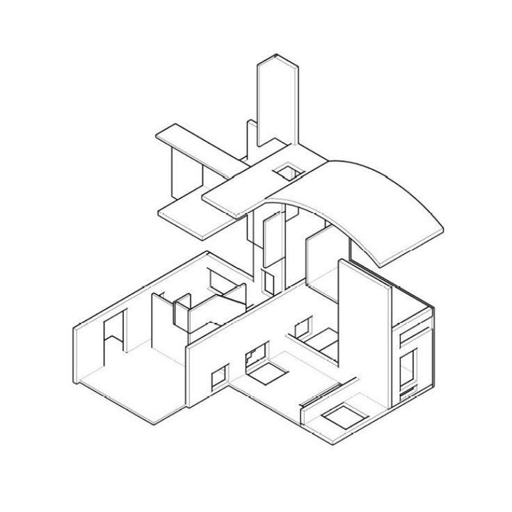 Ensamble de piezas de la obra del referente (Ville La Roche - Le Corbusier) para construir algo nuevo. (1:50) (Axonométrica)