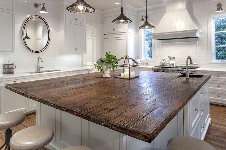 White kitchen with oak counter | Frasier Homes