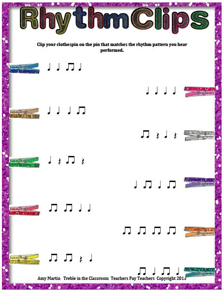 Treble in the Classroom: Clothespin Clip Rhythm Game/Assessment Kit - students listen to teacher perform rhythm then clip the one they think it is