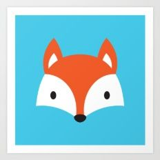 Cute Fox / Blue / Orange Art Print