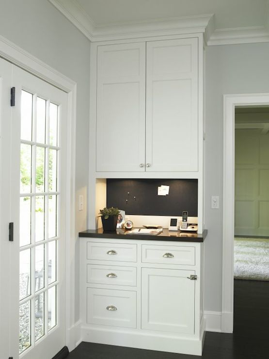 Christine Donner Kitchens - kitchens - message center, kitchen message center,  Kitchen message center features white cabinets paired with b...