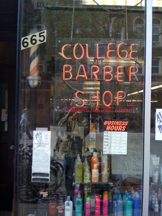 """College Barber Shop, 665 State Street, Madison, Wisconsin, closed in September 2014 after nearly 9 decades in business under three ownerships. Fred Lee opened it in 1928, then Don Fine took over in 1969. Larry Cobb started cutting hair at the shop in October 1978, and he and a partner acquired it in 2007. Fine kept working there part time until closing, racking up more than 60 years in the trade at age 84. The shop's chairs dated back to 1949. As one client wrote, """"Old school without…"""