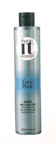 #Alfaparf That's it Grey Pride è lo shampoo perfetto per i capelli grigi, sia naturali sia tinti, per renderli luminosi ed esaltare il colore.