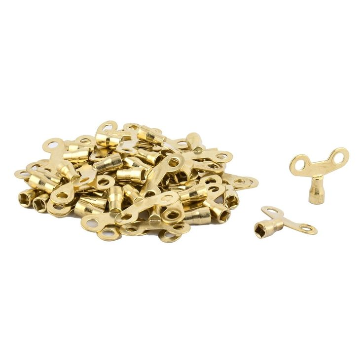 Bathroom Basin Metal (Grey) Water Tap Valve Knob Switch Faucet Key Gold Tone 50 Pcs