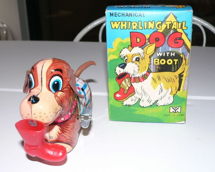 Vintage 1950's YONE Whirling Tail Dog With Boot Wind Up TIN TOY JAPAN MINT!