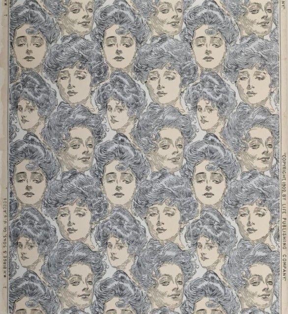 Sidewall: Bachelor's Wall Paper. Designed by Charles Dana Gibson, 1902. Gift of Philadelphia Museum of Art.