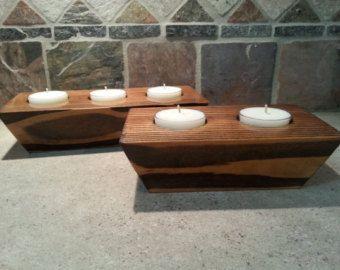 Wooden Tea Light Holder Tea Light Candle by SugarBelleCandles