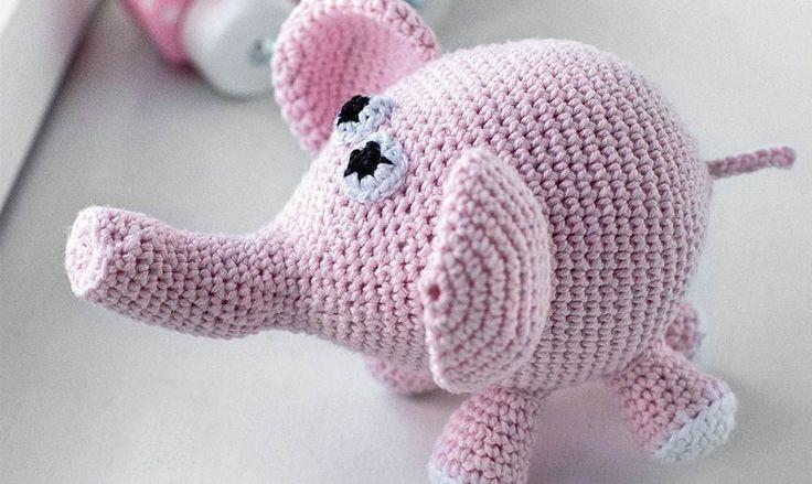Hækl selv: Sød lyserød elefant