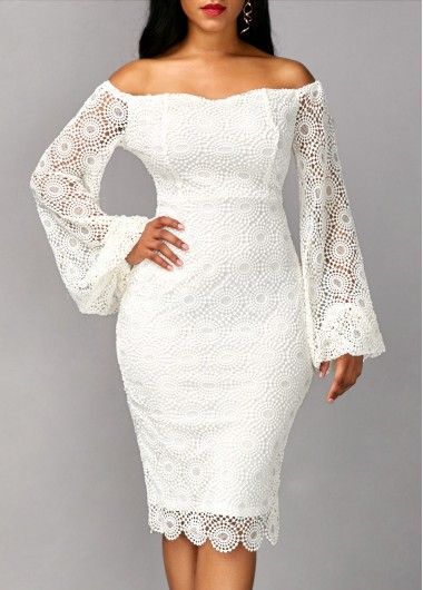 Long Sleeve White Off the Shoulder Sheath Lace Midi Dress, bridesmaid dress for wedding, all white party dress for women, free shipping worldwide at rosewe.com, check it out.