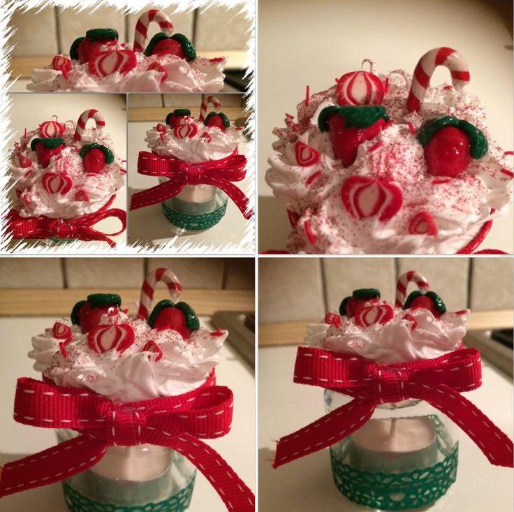 Candela alla vaniglia in barattolino in vetro, con coperchio decorato con pasta di fimo...... Progetto fragolina!