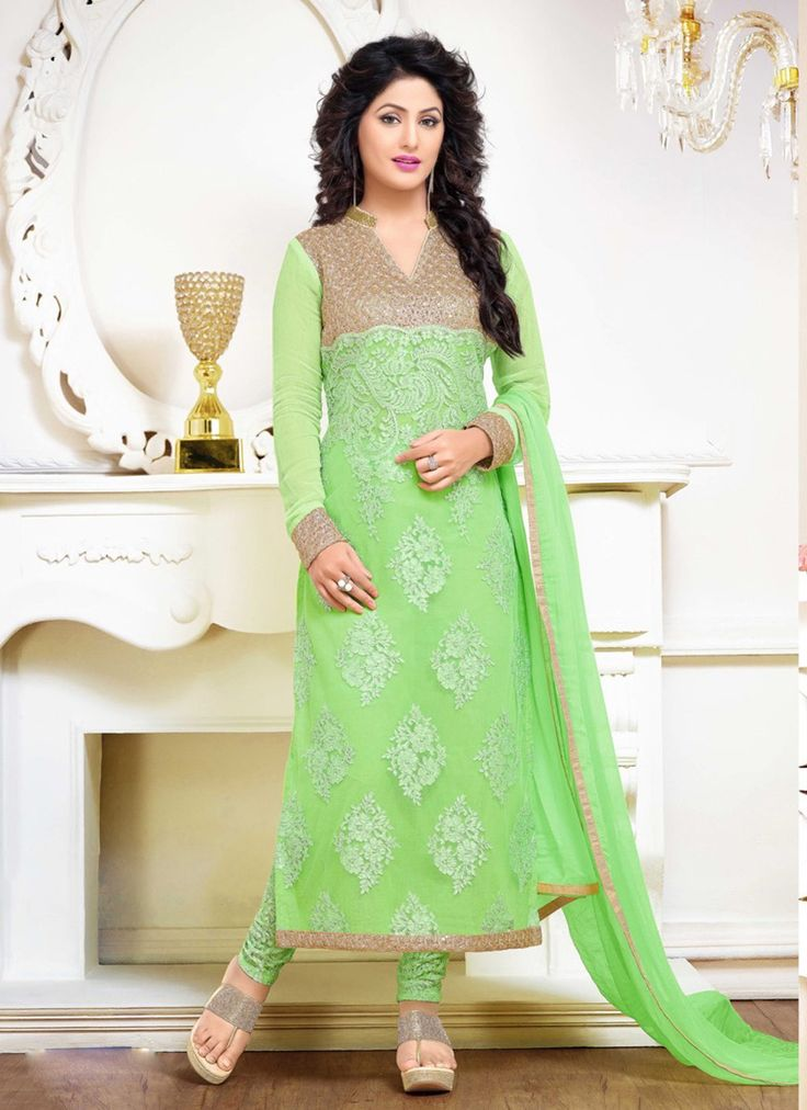 Hina Khan Mint Green Georgette Bollywood Suit 61263                                                                                                                                                                                 More