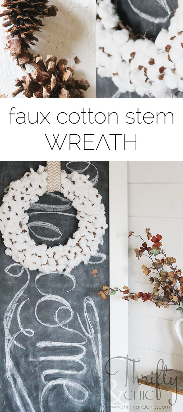 How to make a cotton stem wreath for only a couple dollars!