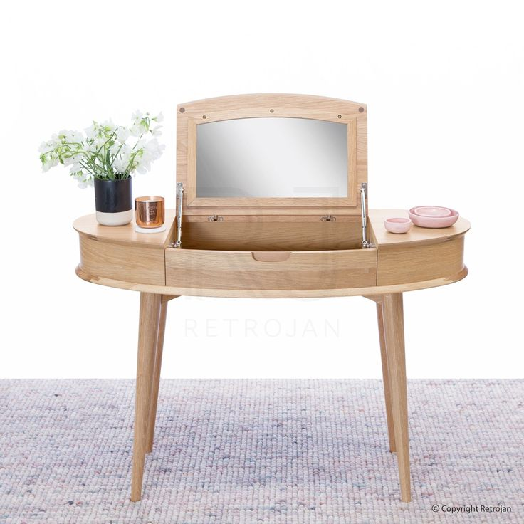 Retrojan - Madeline Danish Inspired Dressing Table top open showing mirror