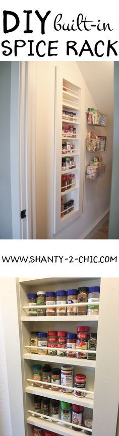 Maximize the storage in your pantry by building a DIY spice rack IN the wall! This is a simple build with easy-to-follow instructions at www.shanty-2-chic.com