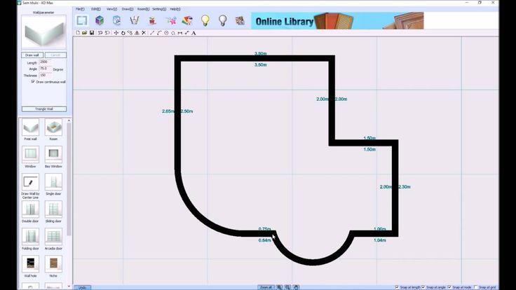 Como desenhar paredes curvas em cozinhas no KDMAX, Software de desenho d...