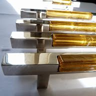 Cabinet handles in nickel with glass insert. Made for Harrods.