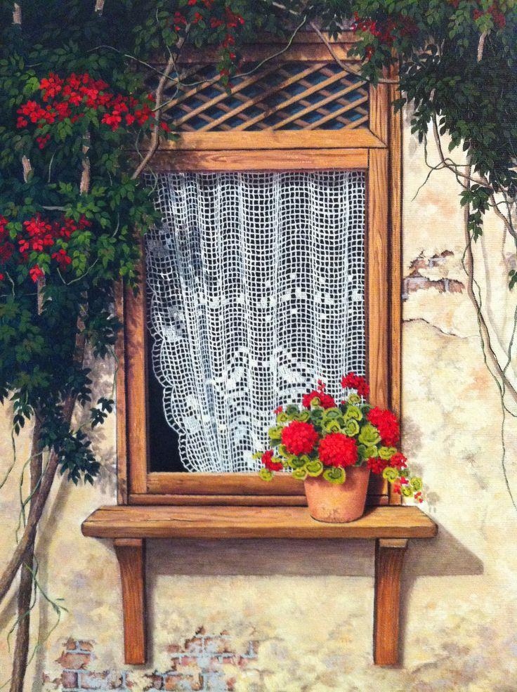 Windows#flowers // Turkish painter Günseli kapucu