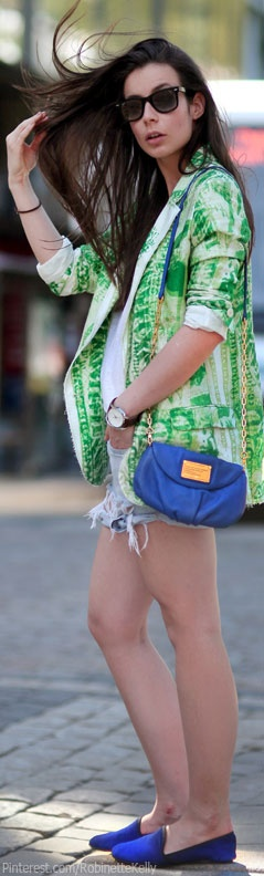 Street Style - Portable Package |  ACNE Jinx blazer, Cubus tee, Never Denim cut offs, Marc by Marc Jacobs purse