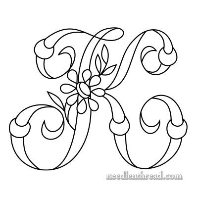 Monogram K for Hand Embroidery via Mary Corbet