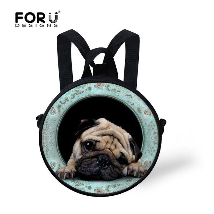 Fashion children messenger bags cute pug dog mini bag for girls 3d cartoon animal crossbody bags travel ladies bolsas feminina