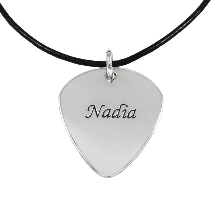 Silver guitar pick with a name engraved on the one side and a phrase on the other. By Shine4ever.gr