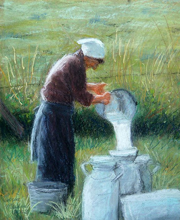 Maria Meester - Woman with milk cans. Soft pastel on paper.