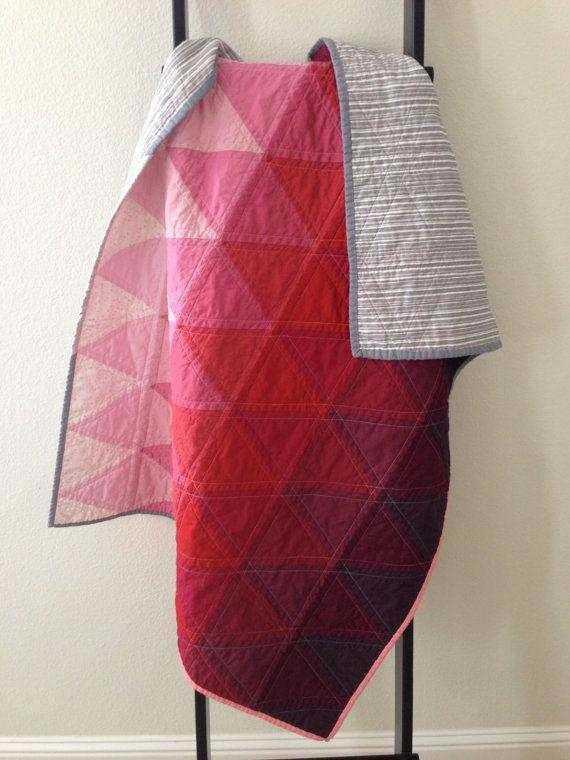 FREE SHIPPING Modern Triangle Quilt Pink door littlecolleydesign