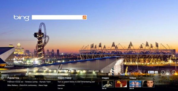 Bing has a London theme on their live background image that will likely change throughout the days of the Olympics.London Orbit, 2012 Olympics, London 2012, Aquatic Centre, Arcelormittal Orbit, Olympics 2012, London Olympics, 2012 London, Backgrounds Image