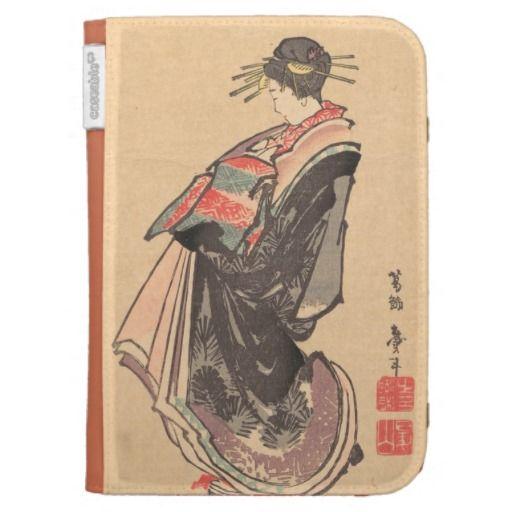 courtesan on parade dressed in many robes Hokusai Kindle Folio Case