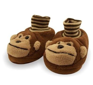 Monkey Toddler Sock Top Bootie Brown Slippers $12.99