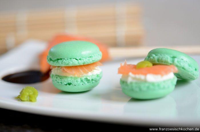 Macarons Lachs-Frischkäse-Wasabi