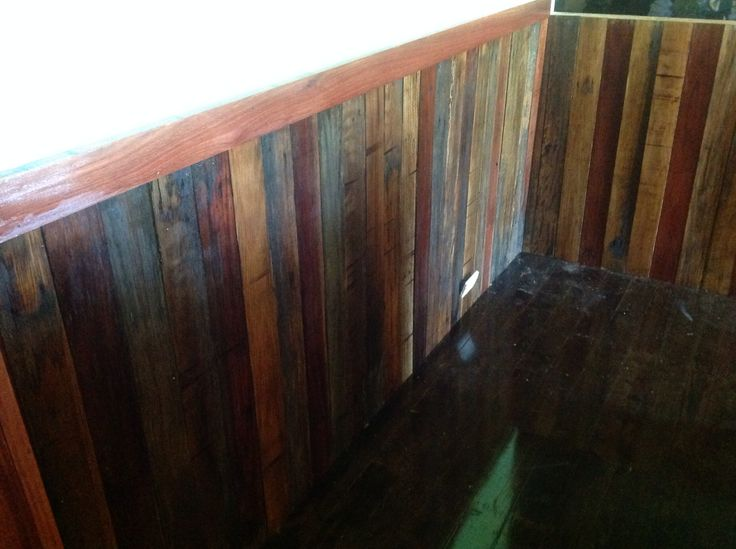 Dining room wall and dado recycled fence palings for Recycled wall