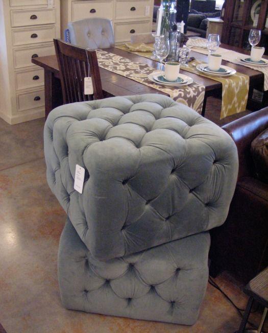 Button Tufted Blue-Grey Ottoman from Urban Barn