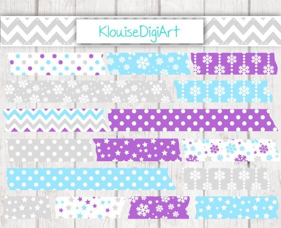 Christmas Holiday Printable Washi Tape Clipart by KlouiseDigiArt