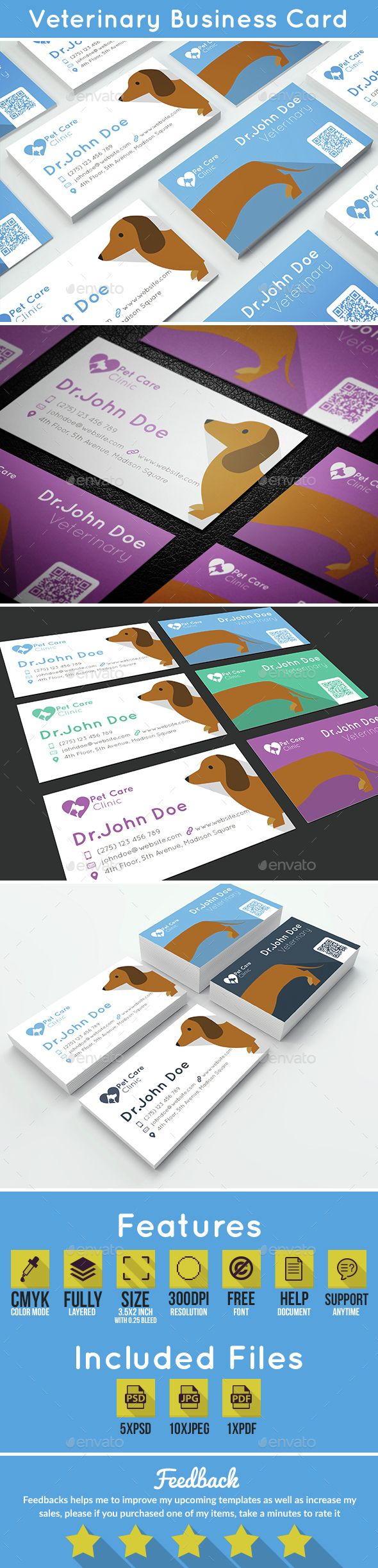 9311 best unique business card design images on pinterest business veterinary business card photoshop psd care flat available here https reheart Image collections