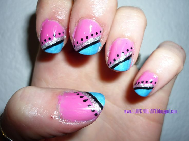 Black And Pink Nail Designs For The Best Matching With Dresses : Pink Blue  And Black Color Combinations Nails. Pink And Black Nail And Black Nail  Design ... Part 92