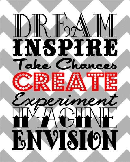 Dream. Inspire. Take Chances. Create. Experiment. Imagine. {Subway Art}