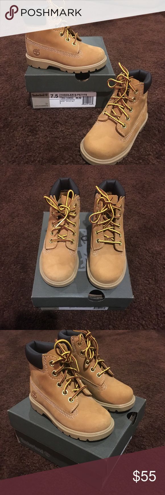 New TIMBERLAND wheat boots kids toddler size 7.5 Worn once for a phot shoot otherwise new. Come with box. Unisex toddler sizing 7.5. Listed twice to show up in both girls and boys sizing - only 1 pair available. Timberland Shoes Boots