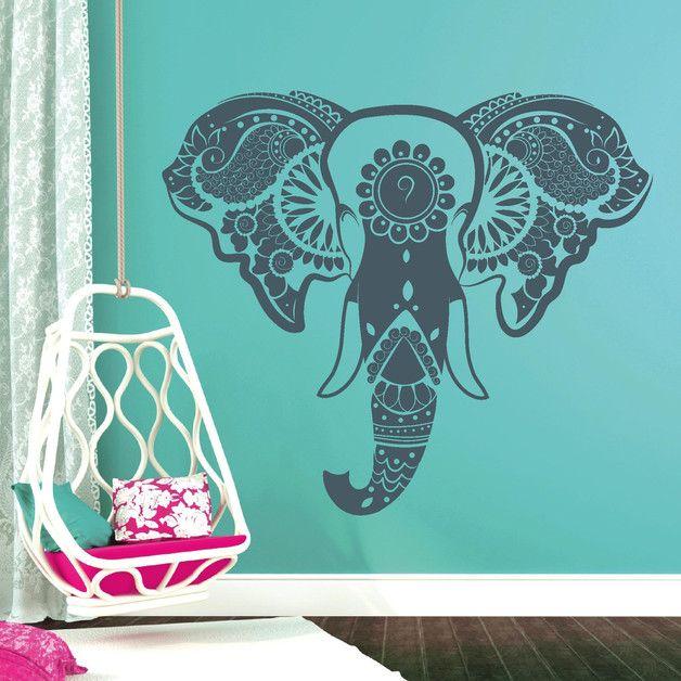 Wandtattoo - Wandtattoo Wandaufkleber Indischer Elefant Elephan - ein Designerstück von wandtattoo-loft bei DaWanda