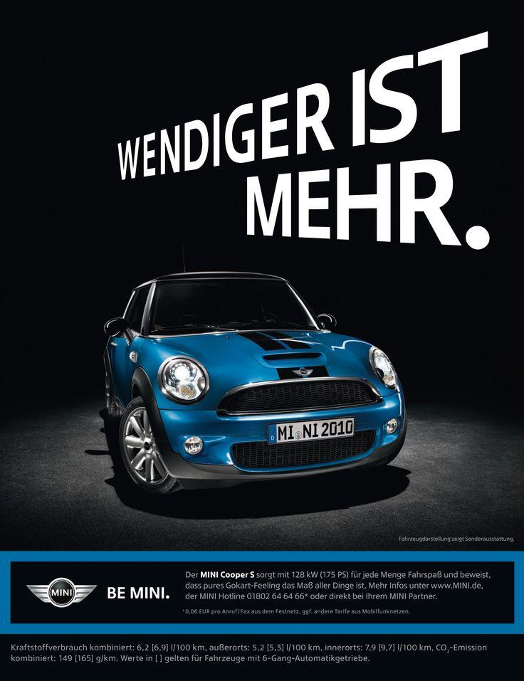 """mini Cooper """"Weniger ist Mehr"""" ad (2536×3300! ; )"""