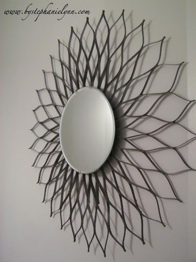 DIY Sunburst Mirror using two cereal boxes and a candle mirror plate.